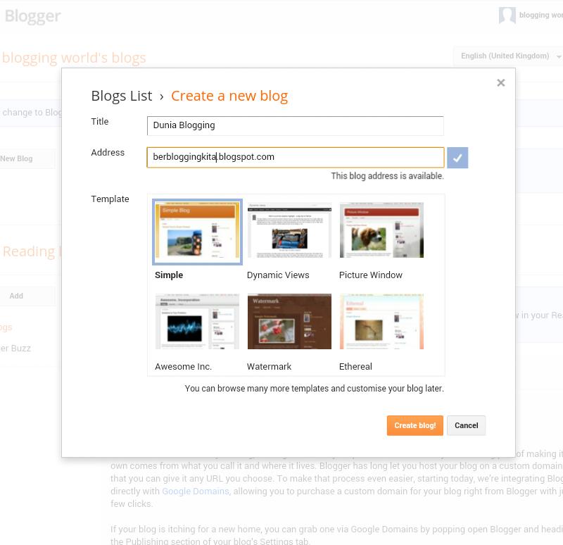 Langkah Pertama dan cara mudah Buat Blog 6
