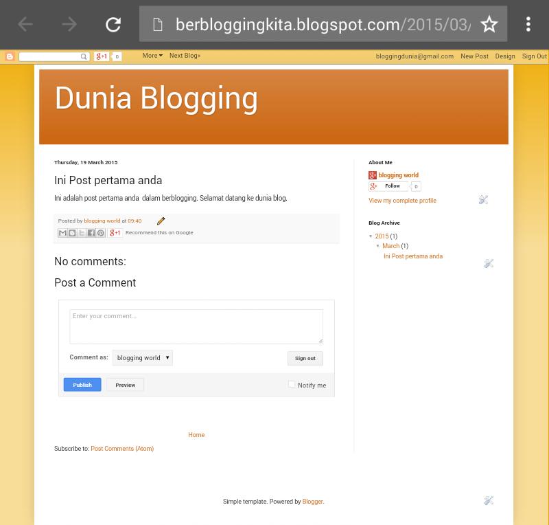 Langkah Pertama dan cara mudah Buat Blog 10