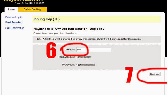 Online Transfer Maybank to Tabung Haji