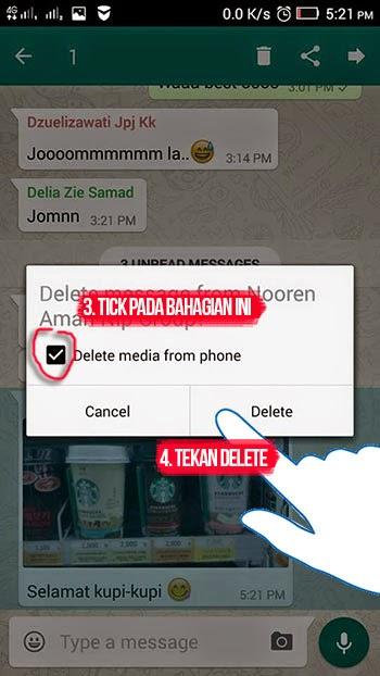 cara delete gambar dari whatsapp