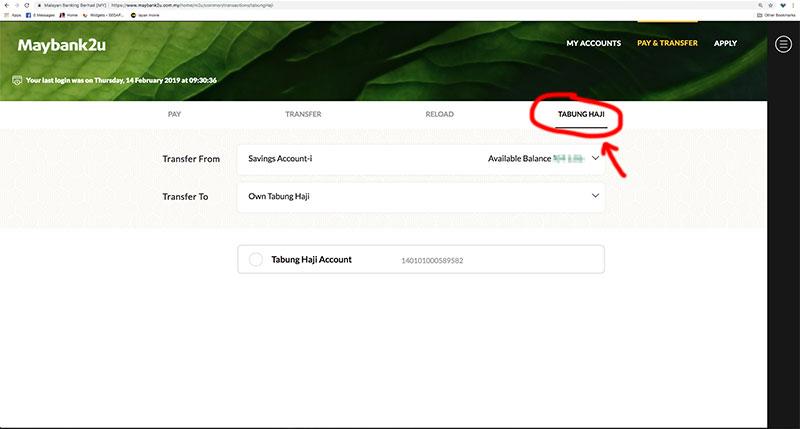 Keluar Duit Tabung Haji Secara Online guna M2U Baru 2