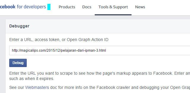 debugger or purge link on facebook