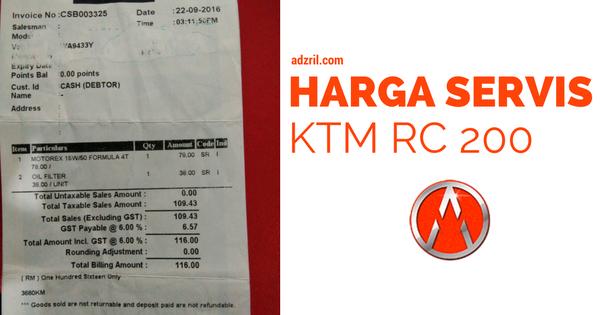 Rutin Maintenance dan Selenggara KTM RC 200 1