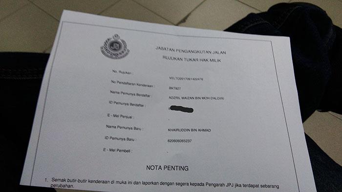Slip pengesahan tukar hak milik kenderaan Jabatan Pengangkutan Jalan JPJ. perlu diuruskan sebelum 7 hari