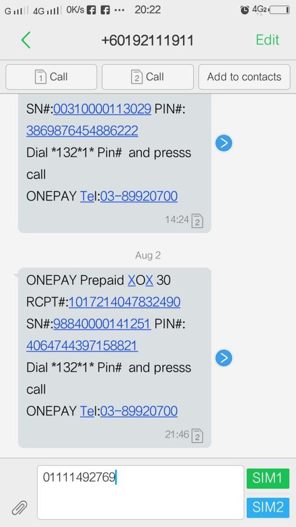 Topup Onexox Guna Pin (Prepaid dan Black) 1